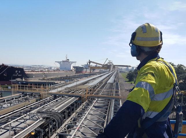 Industry worker in hi vis at port