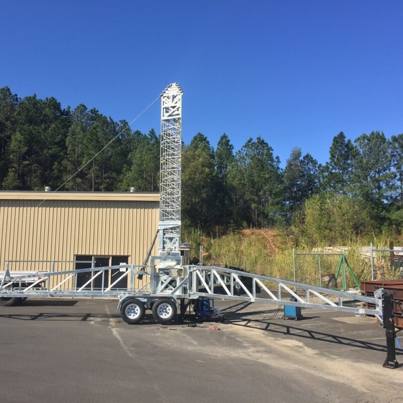 Rapid deployment communications tower on trailer